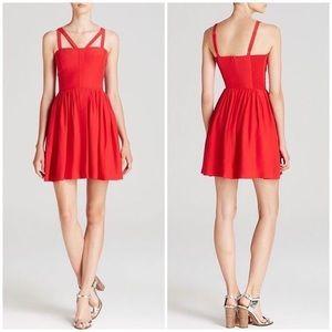 Amanda Uprichard Red Silk Cut Out Cocktail Dress.